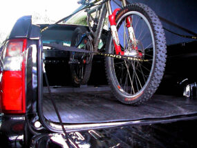 Bike rack with ute tray open