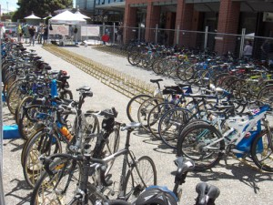 Organized Bikes thru Bicycle Floor Stands Parking