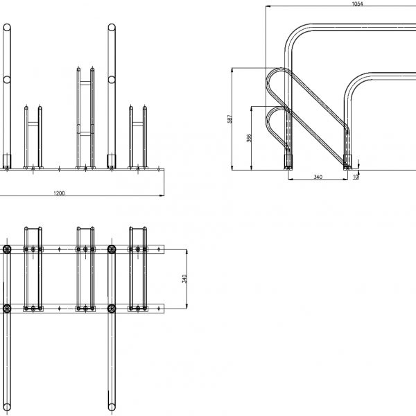 4 Bike Parking Rack Dimensions